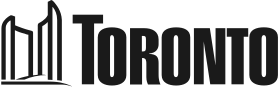 Logo for the city of Toronto. The word Toronto is spelled out in black capital letters using a sans-serif font. An image of Toronto's City Hall is placed at the beginning of the word Toronto. The building is two rounded towers facing one another, with a shorter podium at the base of the towers