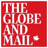 Logo for The Globe and Mail. The words The Globe and Mail are stacked one op top of the other in white letters in a serif font. A Maple leaf illustration is displayed at the end of the word Mail. The logo is contained in a red square.