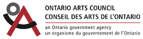 """The words Ontario Arts Council are displayed in black sans-serif letters. The french translation appears below it. The tag-line """"an Ontario government agency"""" is displayed below with a french translation below that. A stylized logo with the letters O A C is displayed on the left-hand side. The O is grey, the A is red, and the C is black."""