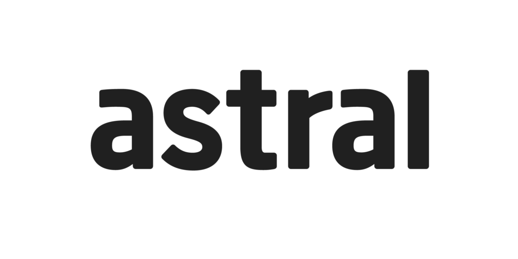 Astral logo is black text spelling Astral on a white background.