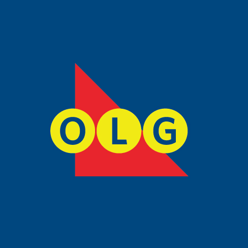 OLG coloured logo. The letters OLG appear on top of a red triangle. The letters are a dark blue colour with yellow circles around them. The logo is on top of a dark blue background.