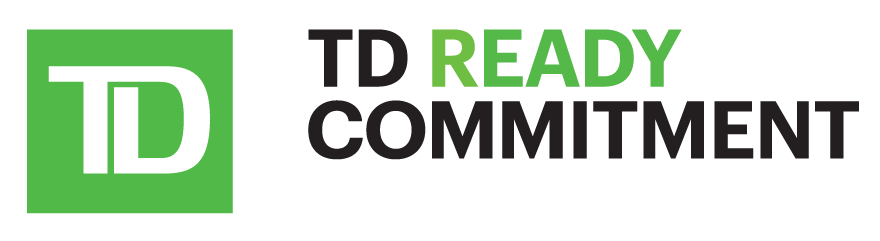 Logo for Toronto Dominion Bank's Ready Commitment. The words T D Ready Commitment are displayed in capital letters using a serif font. The T D bank logo is placed at the beginning of the words. The logo is a bright green square with stylized letters, T D