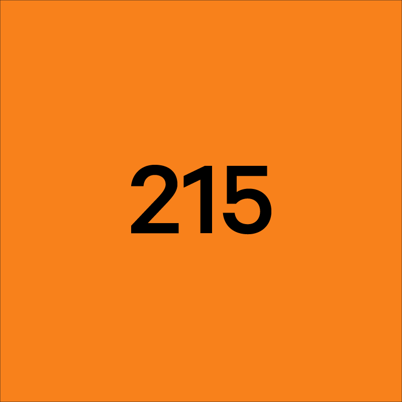 Orange square with black numbers that say 215