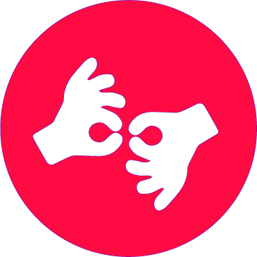 A red circle with two hands in the center. The left hand is making the gesture for the letter F in ASL. The right hand is making the same gesture as the left  in the  opposite direction.