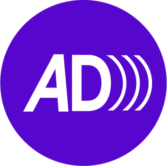 A purple circle. The Letters A and D are inside the circle with three open brackets.
