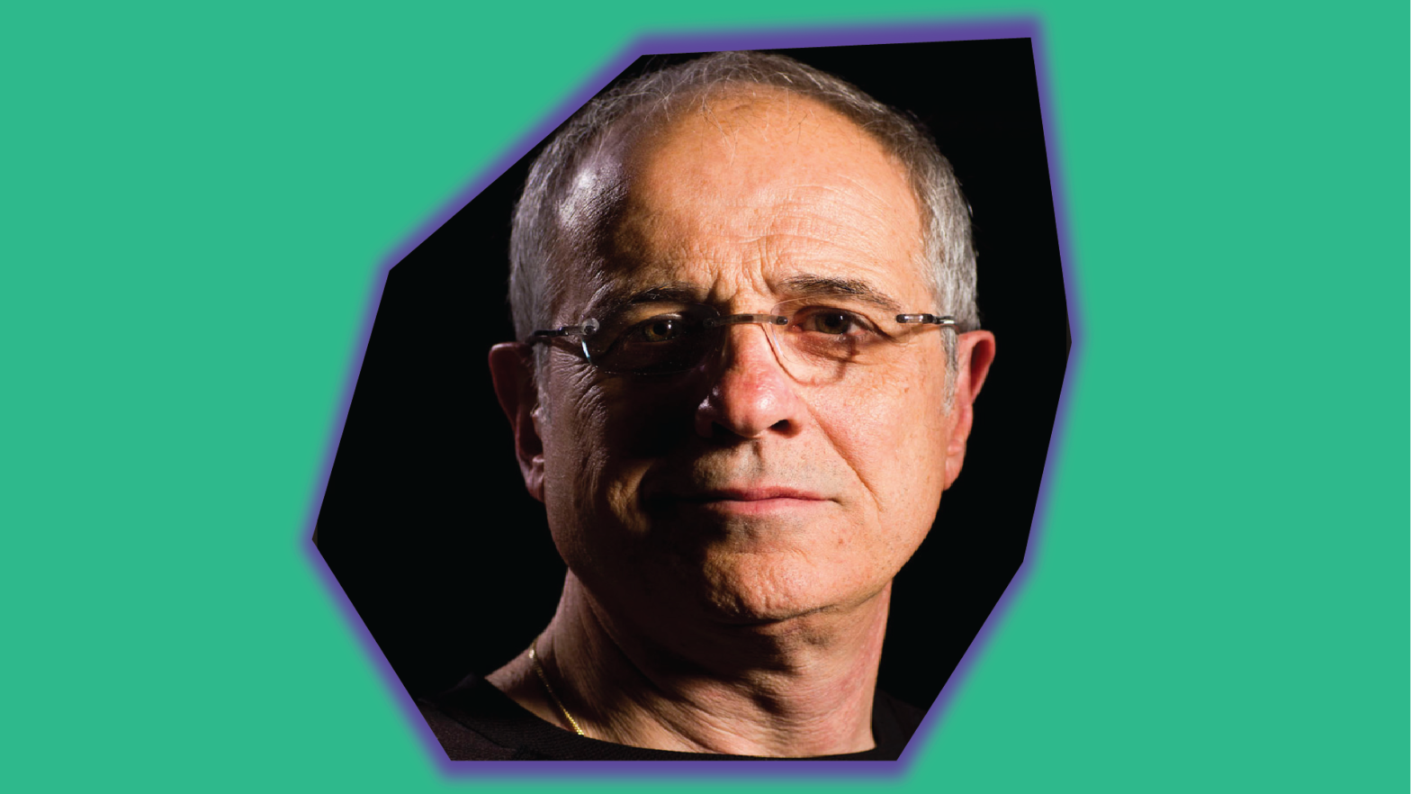 Headshot of Canadian producer Bob Ezrin embedded within a rhombus asymmetrical glowing shape on top of a green background