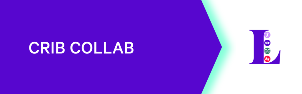 Image of Crip Collab banner. The words Crip Collab appears on the left side in white text ontop of a purple background. Luminato's Holistic Access Logo is located on the right side with text beneath the logo that reads (press here to return to the access hub)