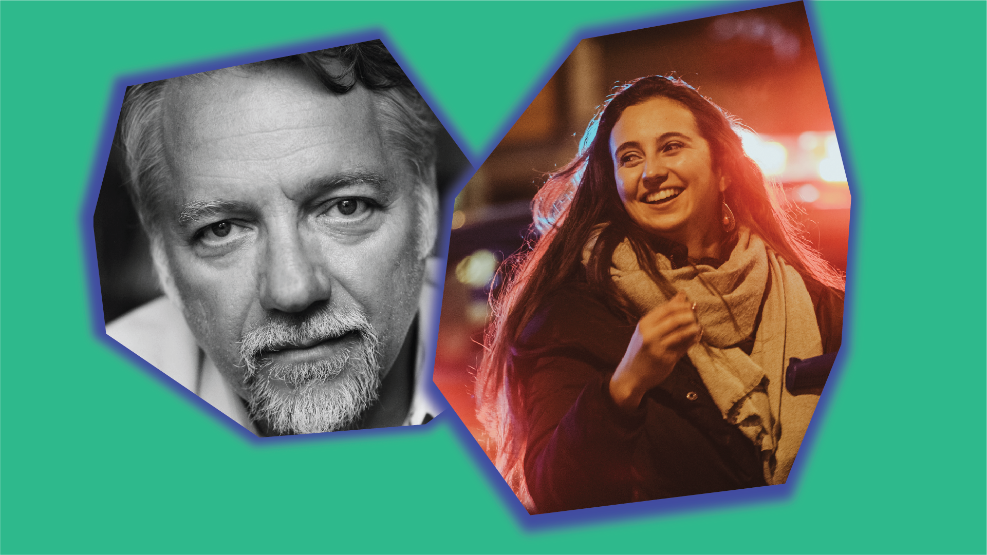 Green background with two asymetrical shapes each with a blue glow. In the left shape is Edward Burtynsky's headshot and in the left shape is Allie Rougeot.