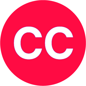 """A large red circle. Within the circle is white text with """"C C"""""""