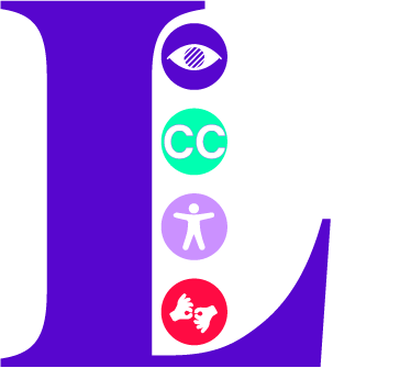 Image of the Letter L in large purple text. Inside the L are four access symbols, forming a line. from top to bottom the symbols appears as follows. (Partially sighted symbol, Closed caption symbol, Accessibility adjustments symbol and Interpreter symbol)
