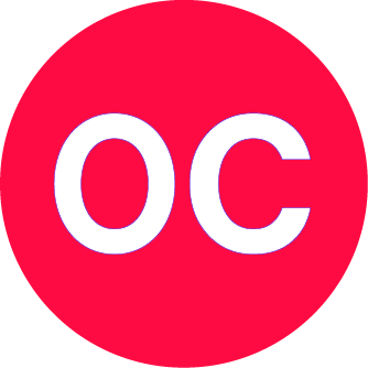 """A large red circle. Within the circle is white text with """"O C"""""""