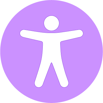 A purple circle  with a human figure in the center. The figure has its arms and legs stretched out.