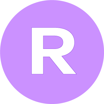 Image of Access Icon Relaxed Performance. A purple Circle with a white R inside.
