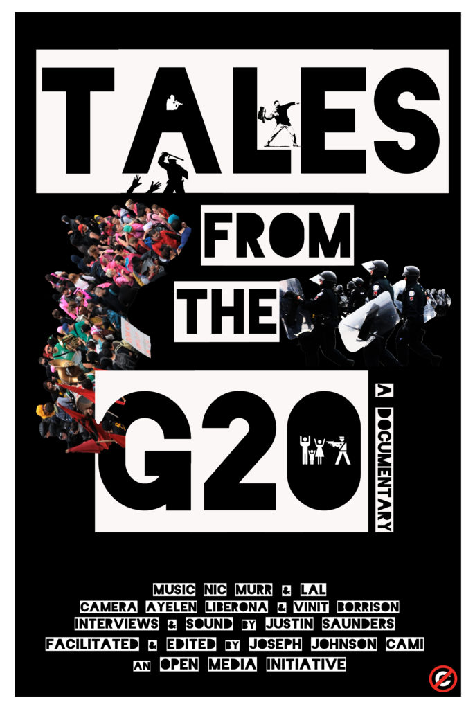 Tales from the G20 movie poster has a black background with the title in black bold text on white blocks.