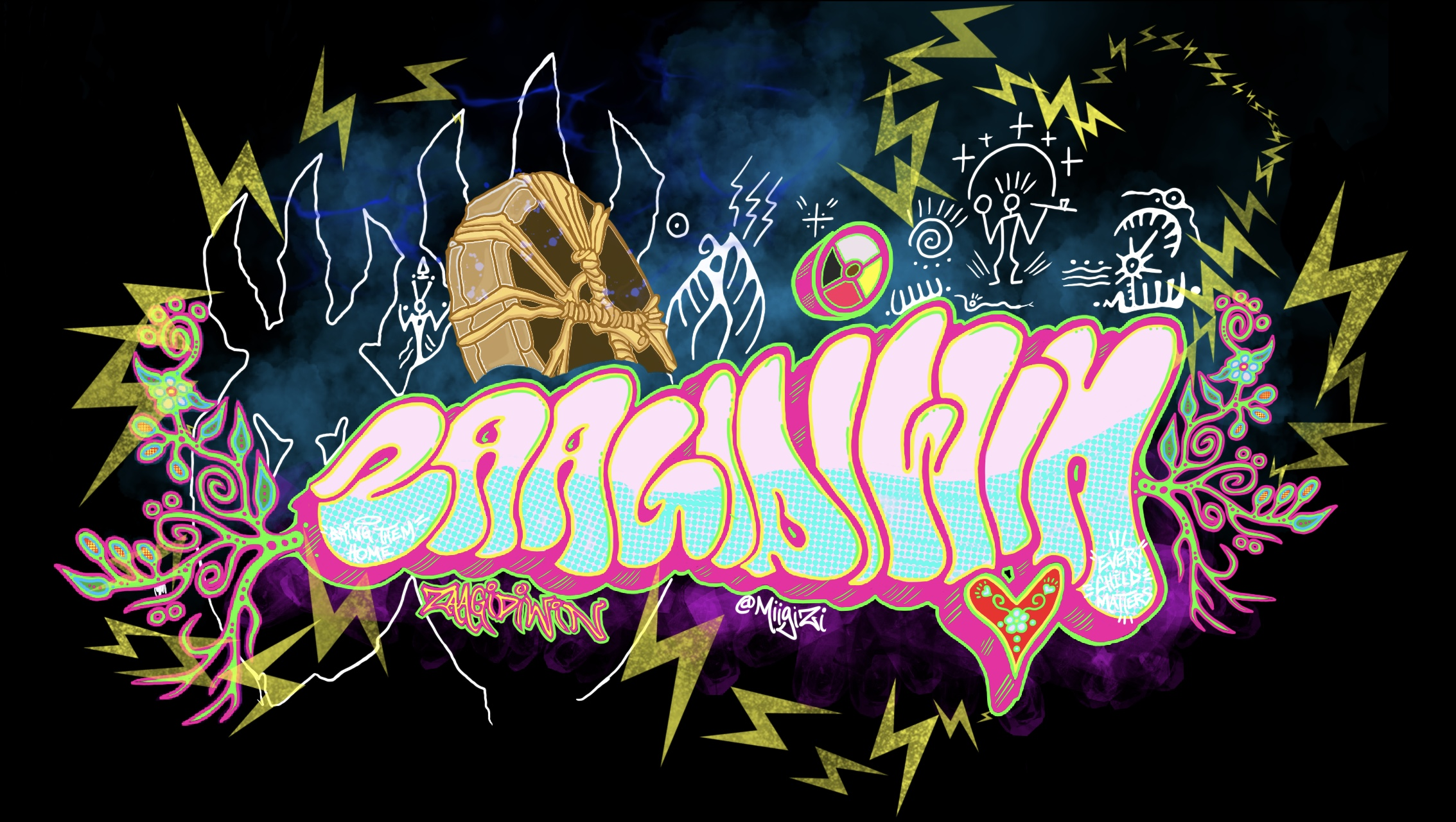 Banner image for Zaagidiwin. Black background with graffiti-style text that says Zaagidiwin. The text is surrounded by indigenous symbols.