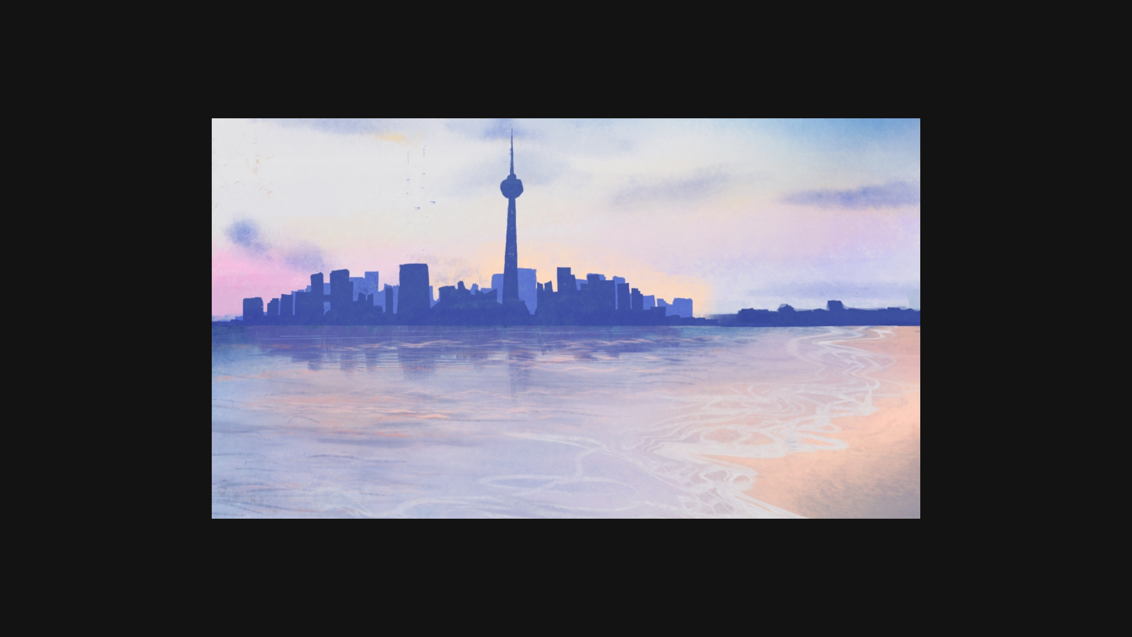 Image of Toronto skyline with water on the shoreline.