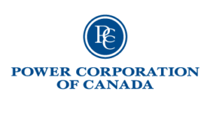 Power Corporation of Canada logo as the words in blue below a blue circle with the monogram PCC.