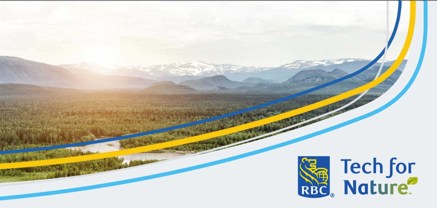 RBC banner image has a sunrise over mountains image with swopping lines of colour in orange and blue. The RBC logo is in the bottom right corner and the words RBC Tech for Nature are next to it