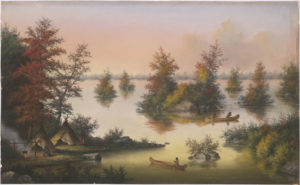 Banner image. Colour painting of lake with islands within it. There is an Indigenous campsite with teepees and a fire in the lower left corner. There is a person canoeing towards the island
