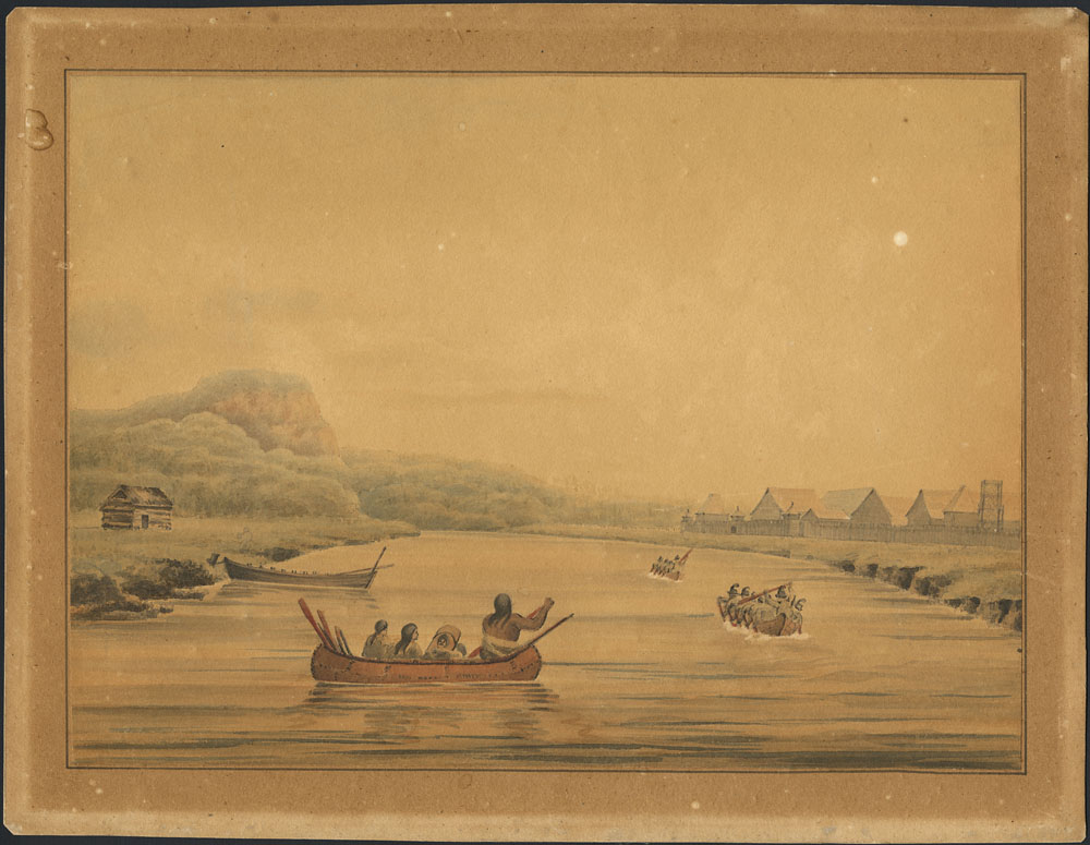 Banner image. View of the Hudson Bay Company's Fort, Norman House, from the river Kamanistiquoia