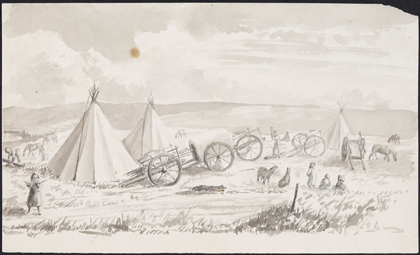 Banner image. A painting of Prairie hunters at a Metis Camp, tents are lined up in a row.