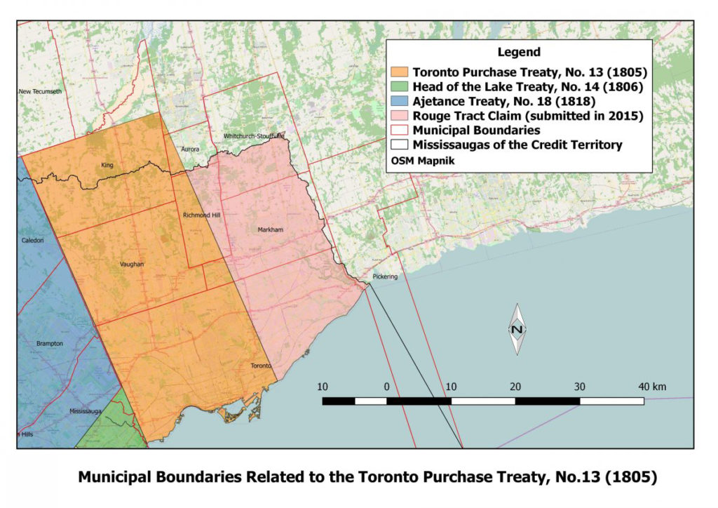 Map of the Toronto Purchase Treaty from Mississaugs of the Credit First Nation