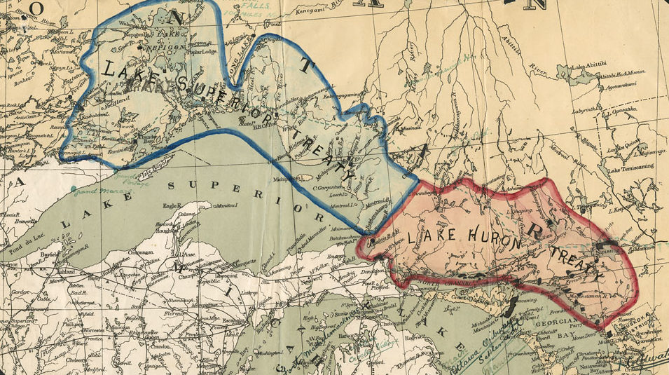 Banner Image. Plan showing those areas of Ontario north of the Great Lakes affected by the Lake Superior Treaty and the Lake Huron Treaty