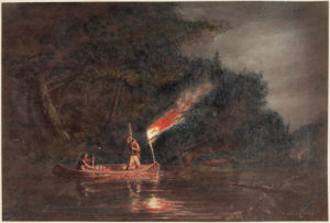 Banner image. Painting of an Indigenous man in a canoe at night.