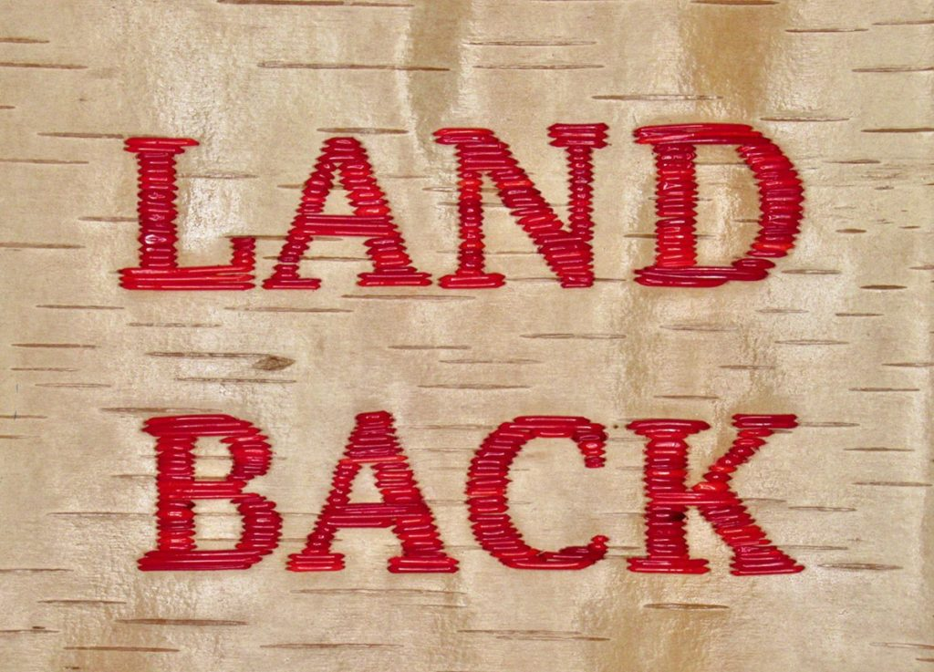 A patch that says Land Back in red letters