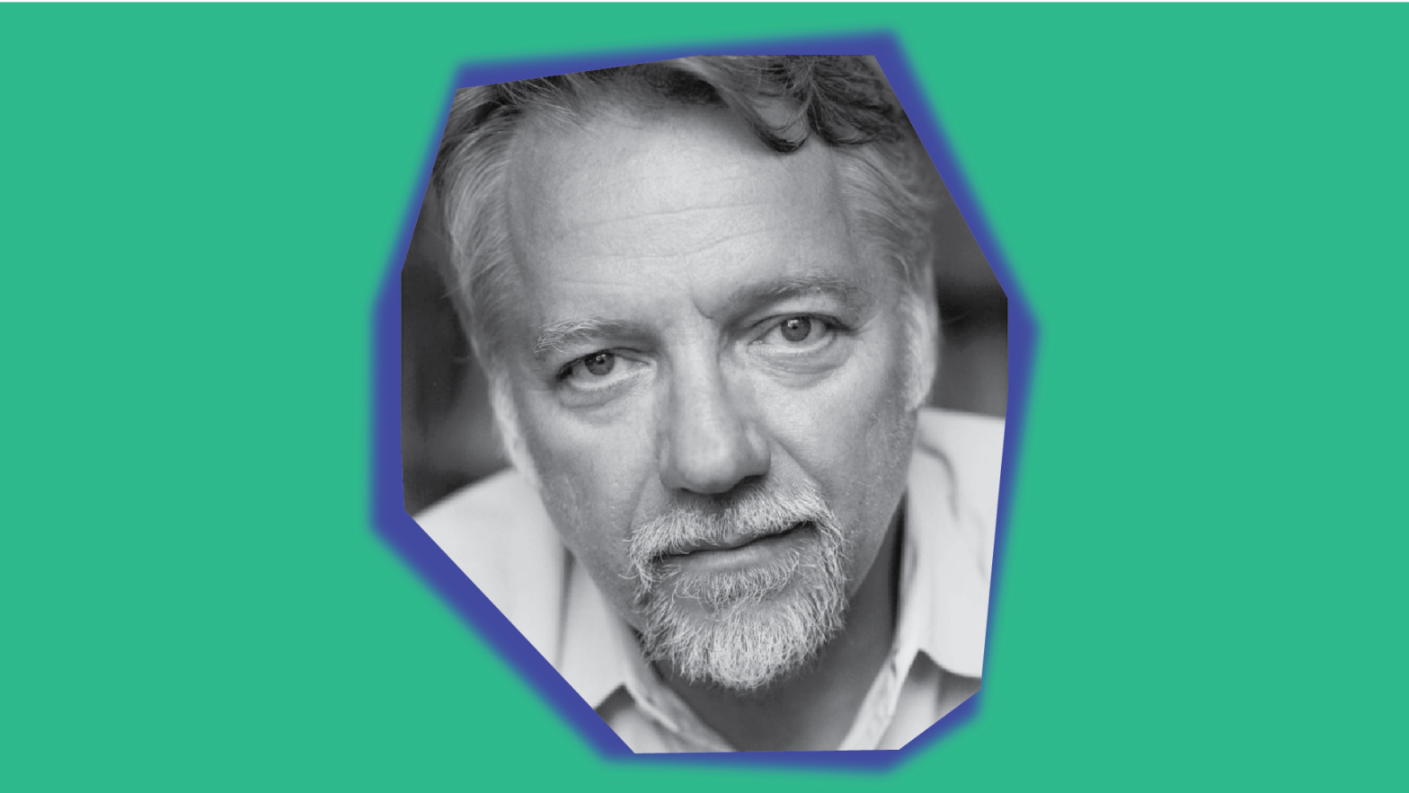 Black and white headshot of Edward Burtynsky embedded within a rhombus asymmetrical glowing shape on top of a green background