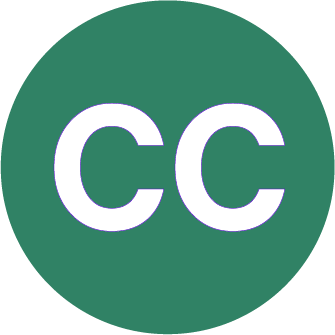 """A large green circle. Within the circle is white text with """"C C"""""""